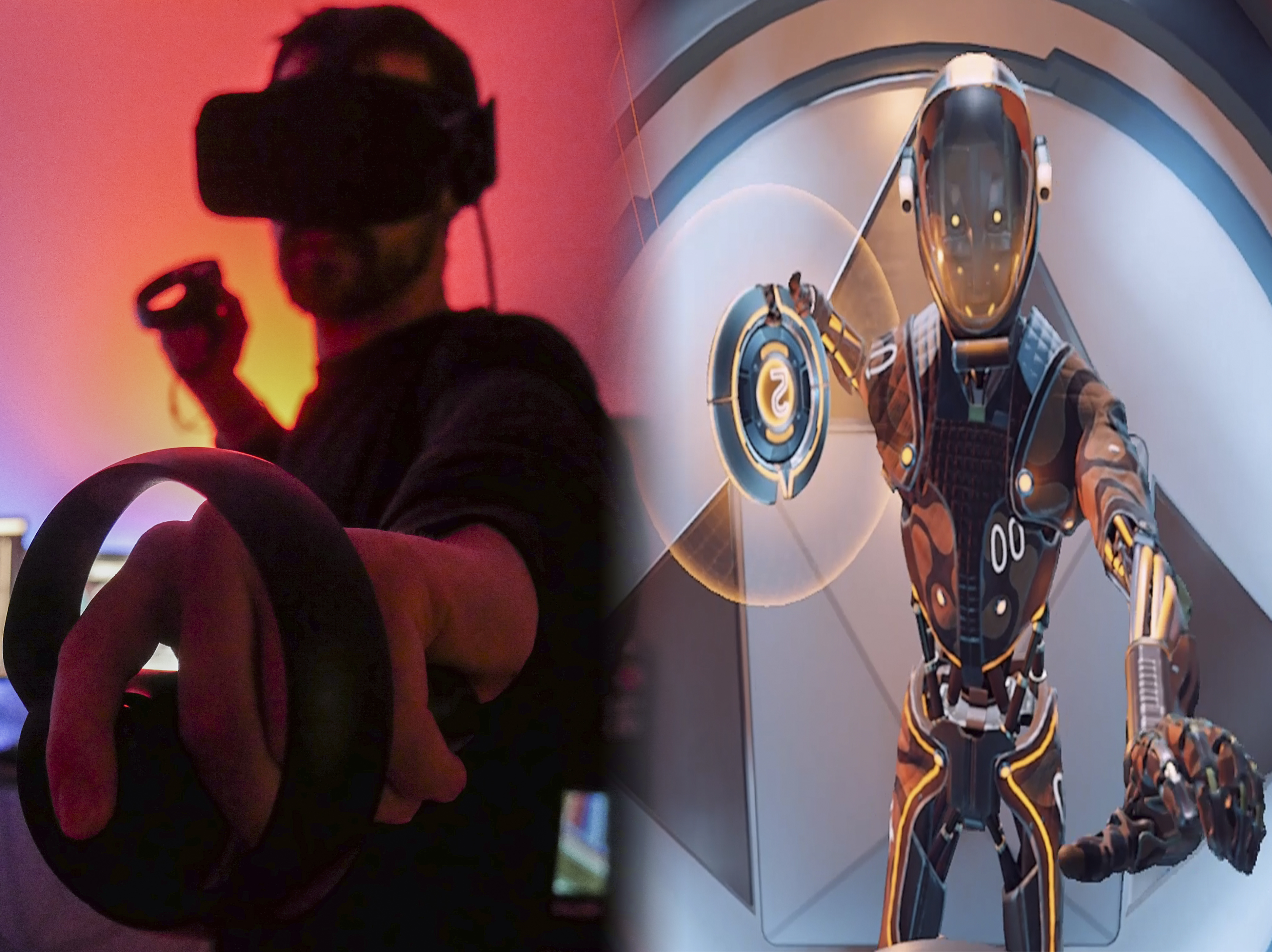 A player equipped with the Oculus Rift Virtual Reality System including controllers, sensors, and helmet (Left). An in-game capture of the player's robotic avatar inside Echo Arena (Right). Photo by Josh Diaz.
