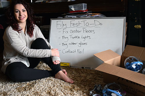 Stephanie Proulx, Living Skies Student Film Festival coordinator and student filmmaker, has a list of tasks to complete before the festival kicks off on March 3 at the U of R's Shu-Box theatre. Photo by Jessie Anton.