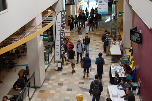 University of Regina students make their way through the halls. Photo by Alex Soloducha.