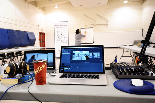 The File Hills Tribal Council's Live Stream set up includes two cameras, multiple microphones, a soundboard, laptop and iPad. Lynn Cote is teaching Saulteaux this week at The Gathering Place in Regina. Photo by Heidi Atter.