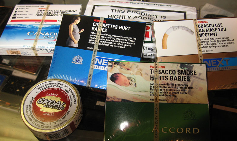 Current warning labels on tobacco