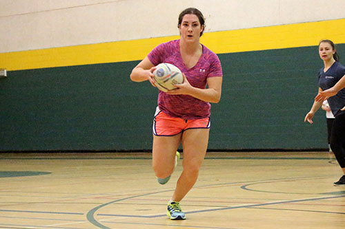Sylvianne Poirier playing rugby