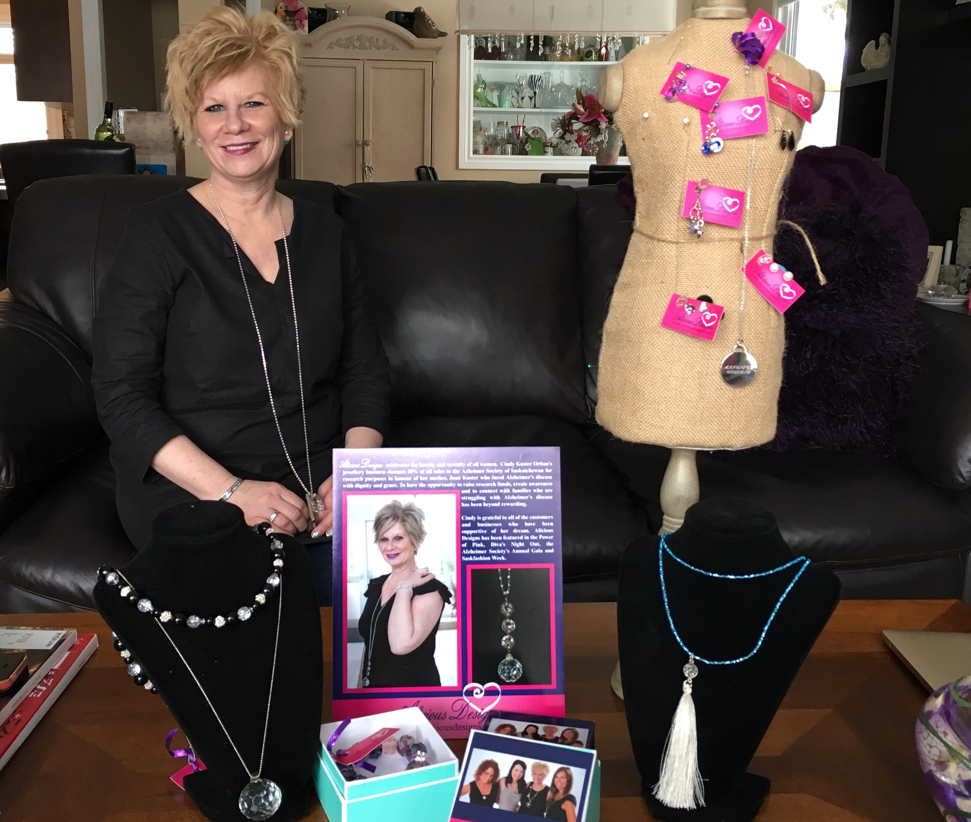 Cindy Kuster Orban created Alicious Designs to raise awareness for Alzheimer's Disease to honour her mother. Photo by Richelle Peace