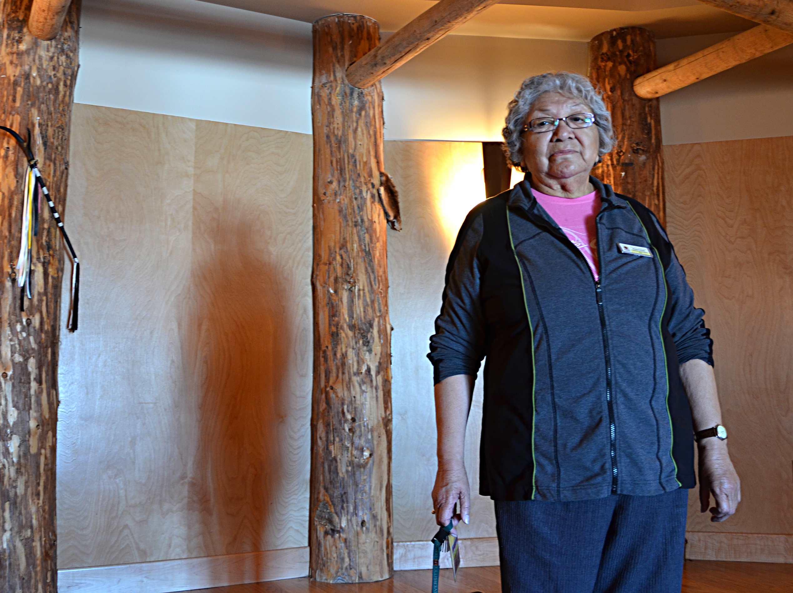 Elder Margart Keewatin stands in the ceremony room at the All Nations Healing Hospital in Fort Qu'Appelle. In this room, she performs traditional Cree ceremonies for patients and the surrounding community. Photo by Aaron Stuckel