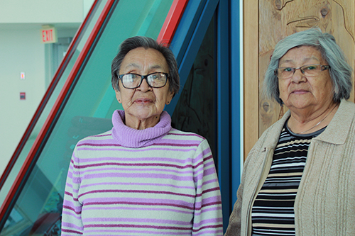 L to R: Elders Millie Anderson and Sylvia Obey will be presenting at the second annual Elders' Conference at the First Nations University of Canada on March 23 and 24. Anderson and Obey will be offering their knowledge during a women's talking circle on the second day of the event. Photo by Michaela Solomon.