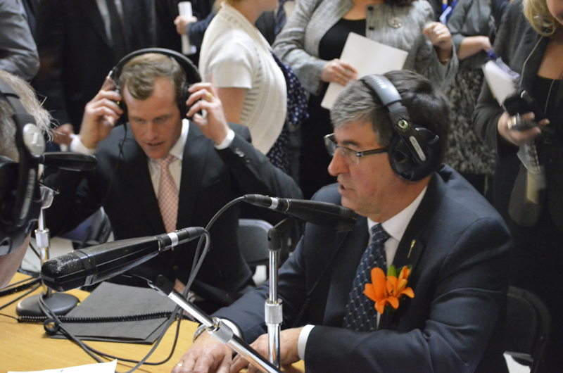 Finance Minister Ken Krawetz and NDP finance critic Trent Wotherspoon speak about the recently tabled provincial budget on local radio. Photo by Lauren Golosky