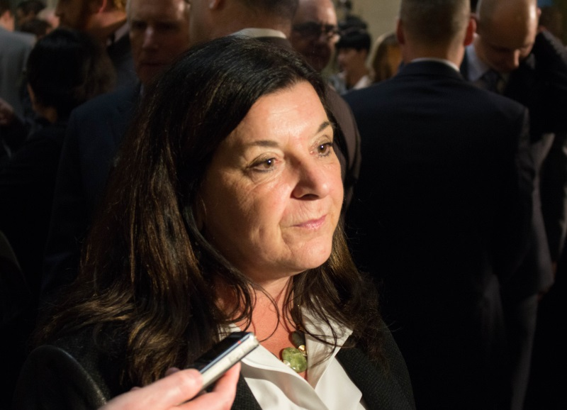 University of Regina President Vianne Timmons speaks to the media following the release of the provincial budget on Wednesday afternoon. She says the insitution will have to make some difficult decisions with an increase of only two per cent to their base operating budget this year. Photo by Brady Knight