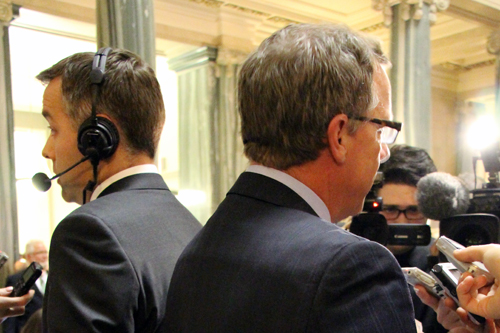 Premier Brad Wall and NDP leader Cam Broten at Budget Day 2015.
