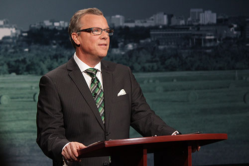 Sask Party leader Brad Wall before the leaders' debate began on March 23.