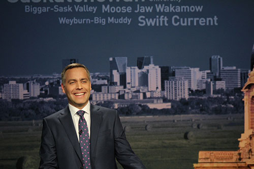 NDP leader Cam Broten before the leaders' debate began on March 23.