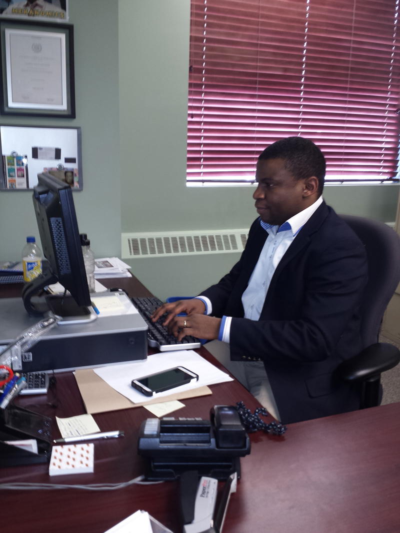 Meka Okochi in his office