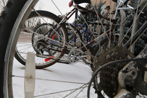 Bike rack at U of R. Photo by Rikkeal Bohmann.